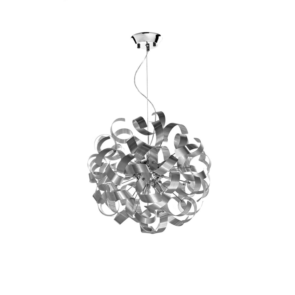 där Lighting RAW1350 Rawley 9 Light Brushed Aluminium Pendant Ceiling Light