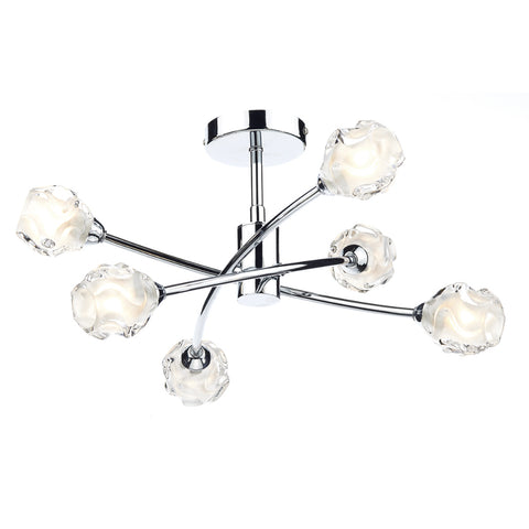 där Lighting SEA0650 Seattle 6 Light Polished Chrome Semi-Flush Ceiling Light