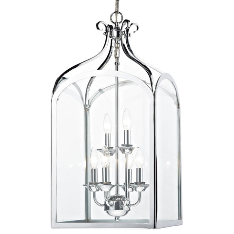 där Lighting SEN0650 Senator 6 Light Polished Chrome Pendant Ceiling Light