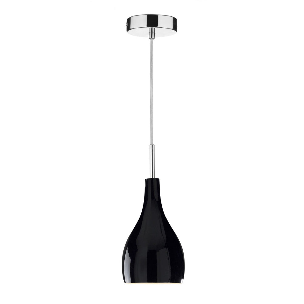 där Lighting SOH0122 Soho Single Light Chrome & Black Pendant Ceiling Light