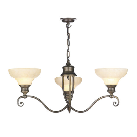David Hunt ST311 Stratford 3 Light Aged Brass Ceiling Light