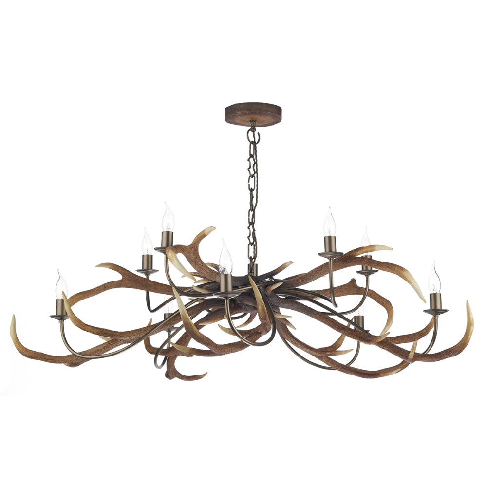 David Hunt STA2329 Stag 10 Light Highland Rustic Pendant Ceiling Light
