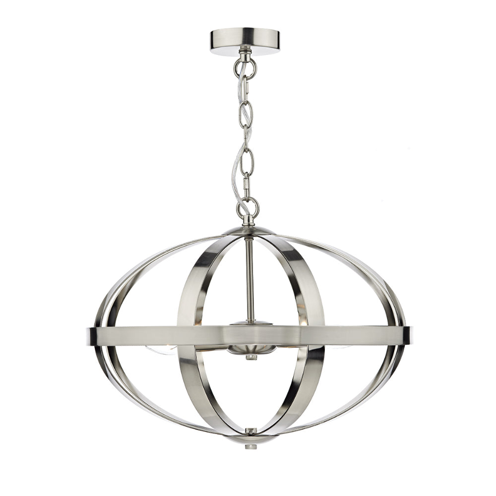 där Lighting SYM0346 Symbol 3 Light Satin Chrome Pendant Ceiling Light
