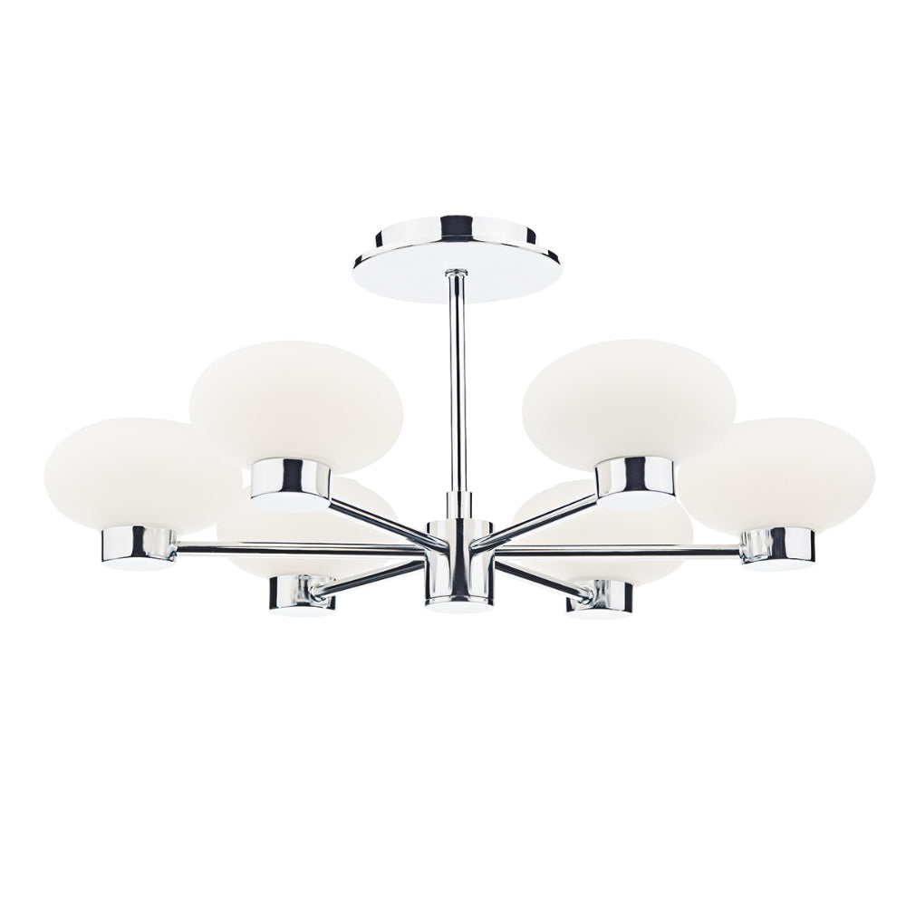 där Lighting SYS0650 System 6 Light Polished Chrome Semi-Flush Ceiling Light