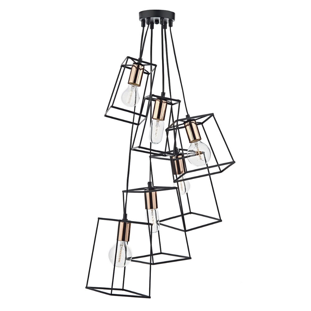där Lighting TOW0622 Tower 6 Light Black & Copper Cluster Pendant Ceiling Light