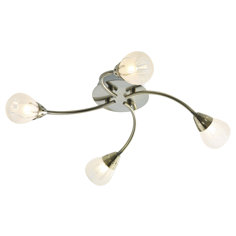 ar Lighting VIL0475 Villa 4 Light Antique Brass Semi-Flush Ceiling Light