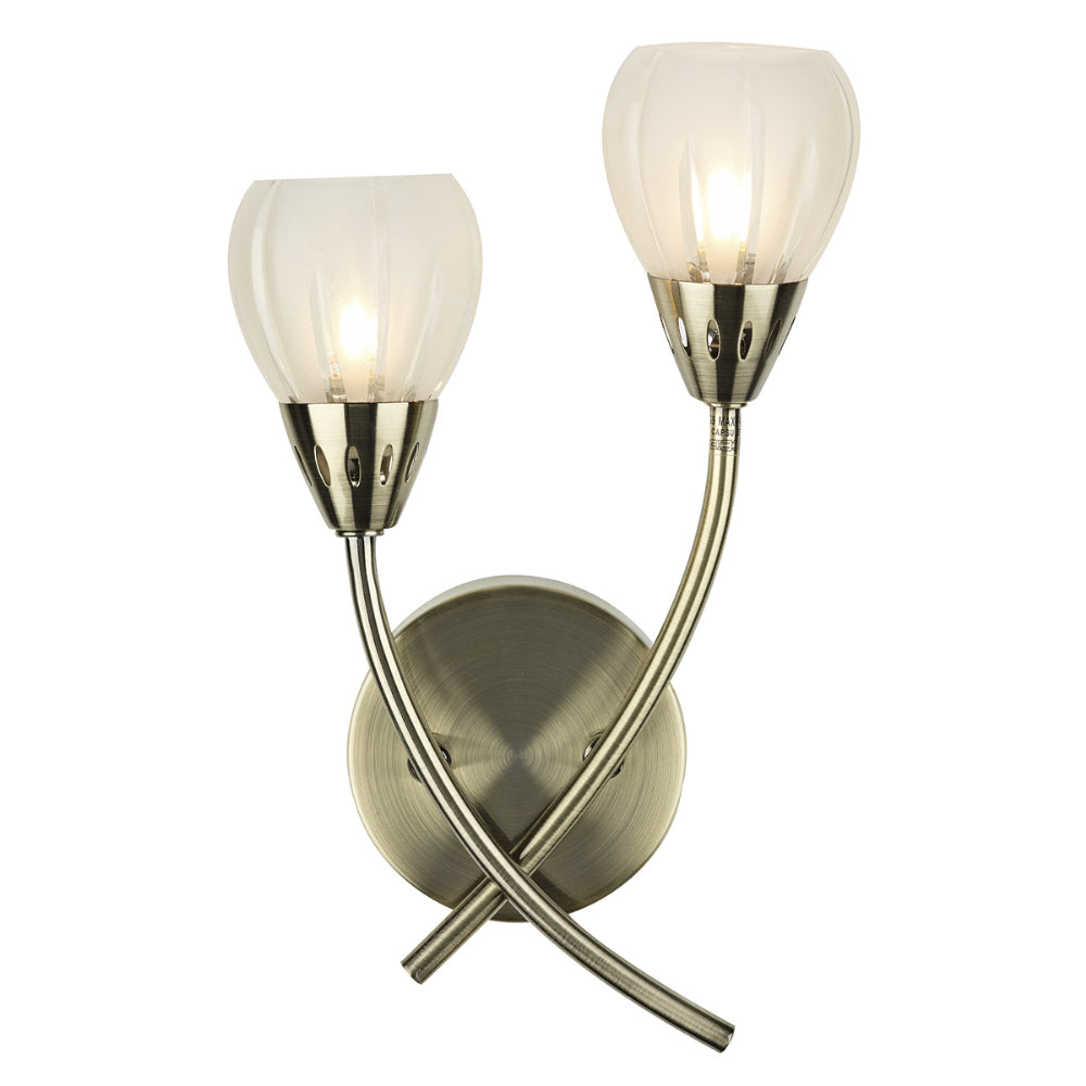 där Lighting VIL0975 Villa 2 Light Antique Brass Wall Light