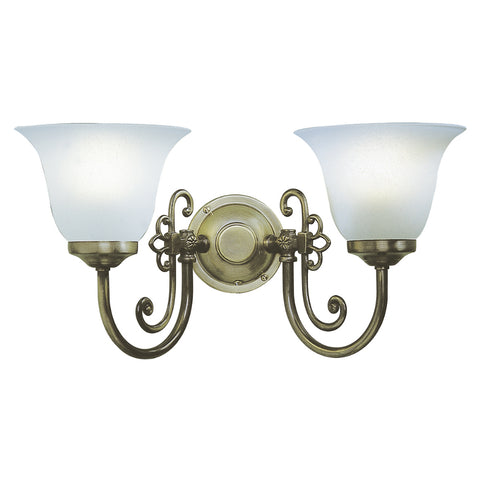 där Lighting WOO0985 Woodstock 2 Light Antique Brass Wall Light