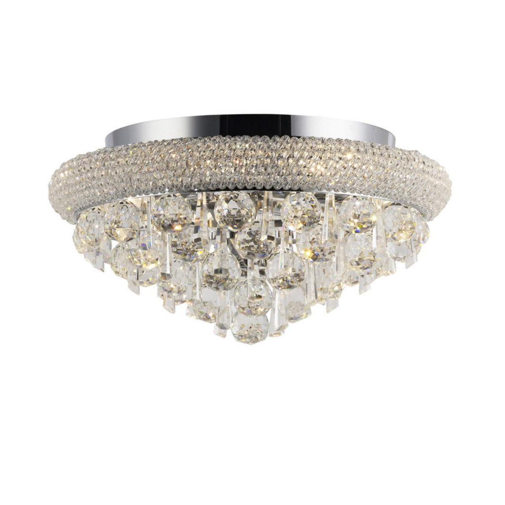 Diyas IL31445 Alexandra 6 Light Crystal Flush Ceiling Light Chrome Finish