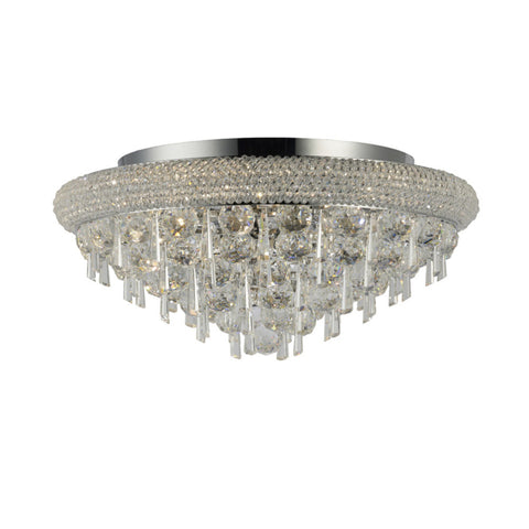Diyas IL31446 Alexandra 7 Light Crystal Flush Ceiling Light Chrome Finish