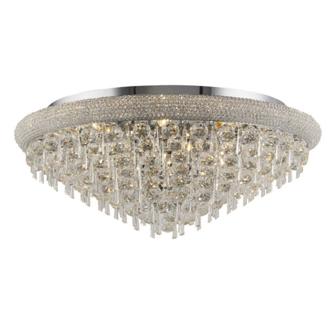 Diyas IL31448 Alexandra 16 Light Crystal Flush Ceiling Light Chrome Finish