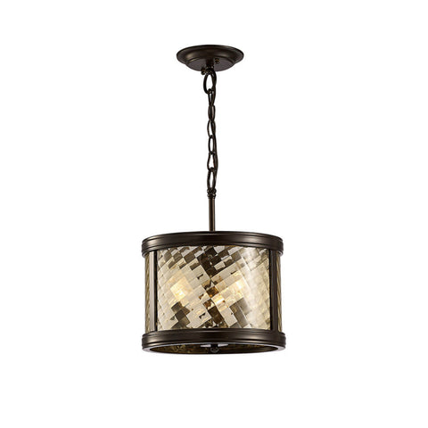 Diyas IL31676 Asia 3 Light Ceiling Lantern Oiled Bronze Finish