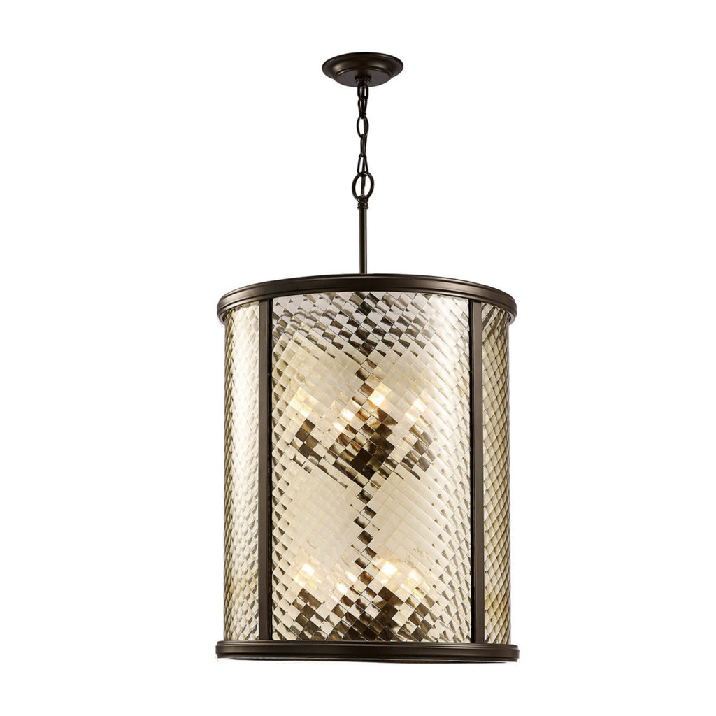 Diyas IL31678 Asia 8 Light Ceiling Lantern Oiled Bronze Finish