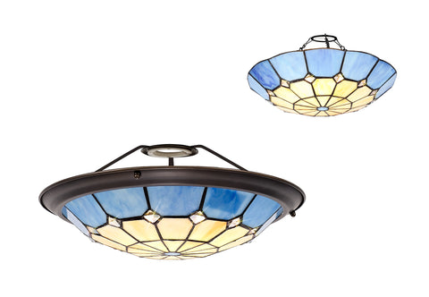 Regal Lighting SL-2059 Tiffany Easy Fit Uplighter Shade  Cream And Blue 35cm