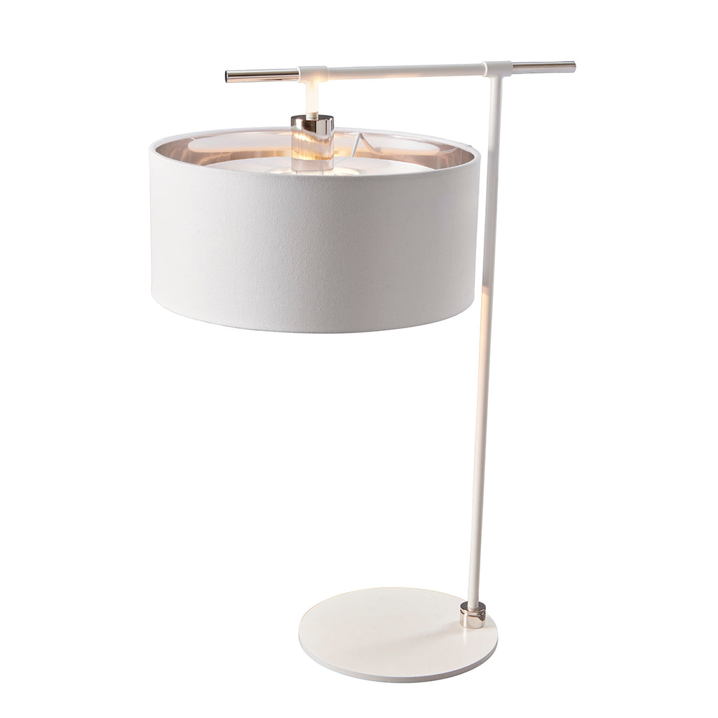 white fabric desk lamp