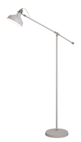 Regal Lighting SL-2272 1 Light Adjustable Floor Lamp Sand White And Satin Nickel
