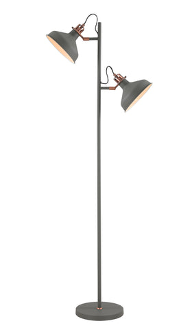 Regal Lighting SL-1737 2 Light Floor Lamp Sand Grey And Copper