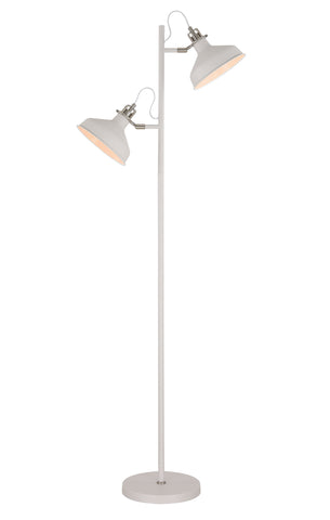Regal Lighting SL-1736 2 Light Floor Lamp Sand White And Satin Nickel