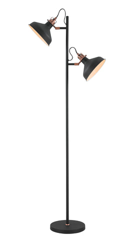Regal Lighting SL-1735 2 Light Floor Lamp Sand Black And Copper