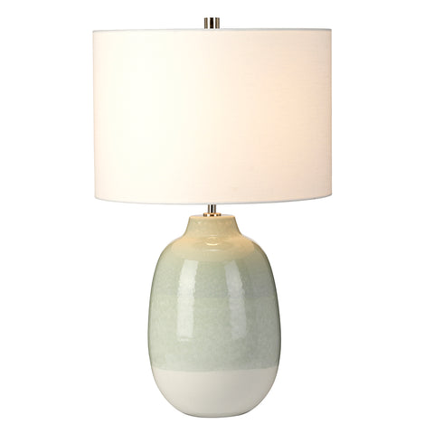 Elstead Lighting CHELSFIELD-TL Chelsfield Single Light Table Lamp Complete With White Faux Linen Shade