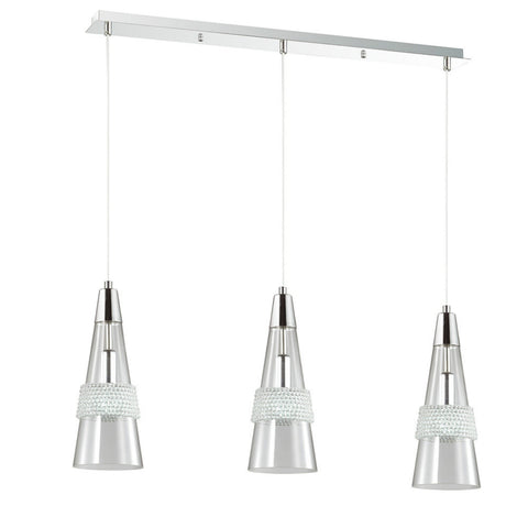 Diyas Emilia 3 Light Chrome/Clear Glass Linear Pendant Ceiling Light