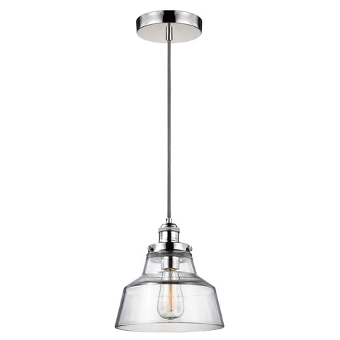 Elstead Lighting FE/BASKIN/P/A/PN Baskin Single Light Polished Nickel Pendant Ceiling Light