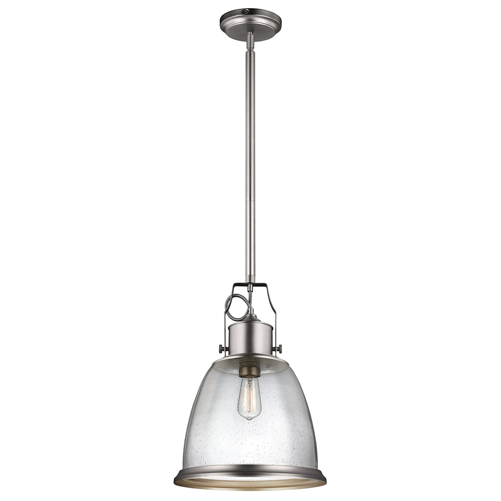 Elstead Lighting FE/HOBSON/P/L/SN Hobson Single Light Satin Nickel Large Pendant Ceiling Light
