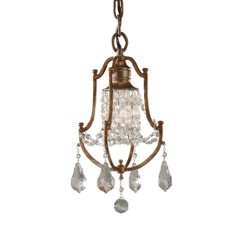 Metal and crystal ceiling light