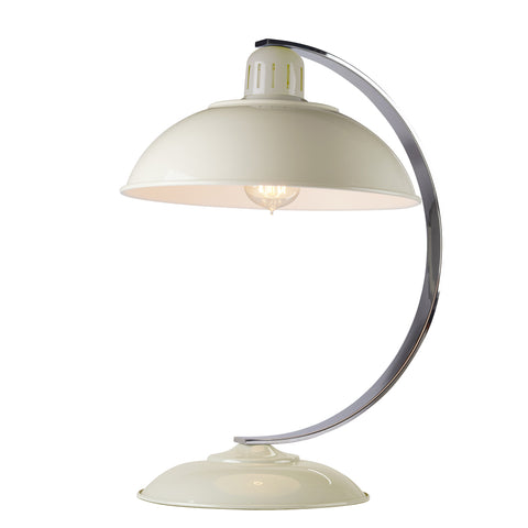 white metal table lamp