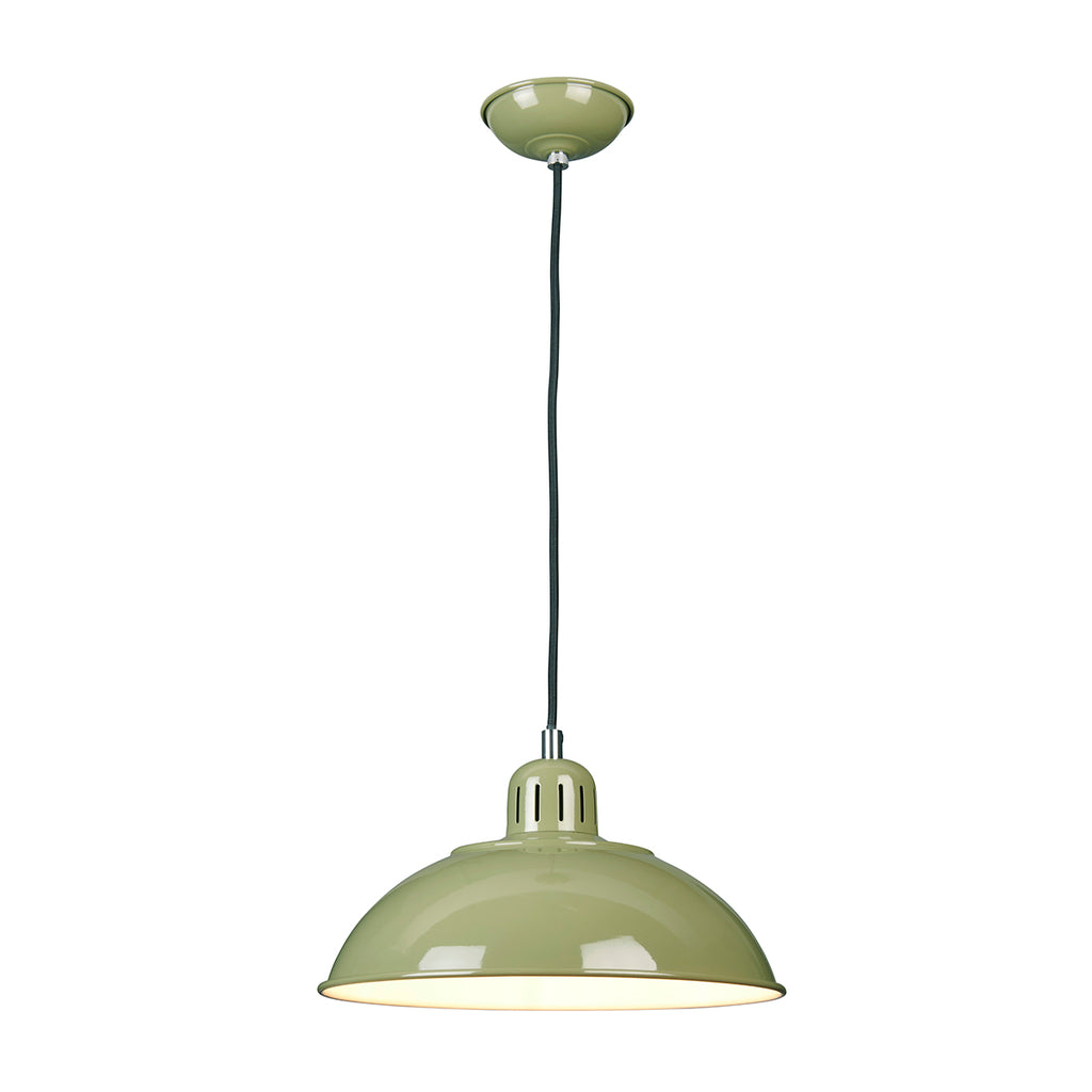 green metal hanging ceiling light