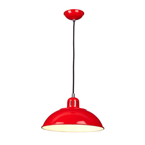 red metal hanging ceiling light