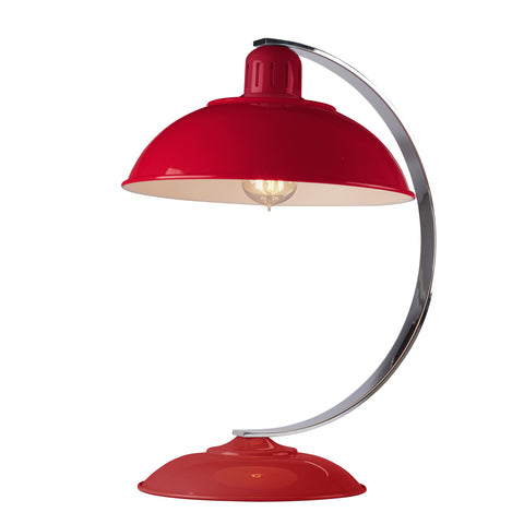 red metal table lamp