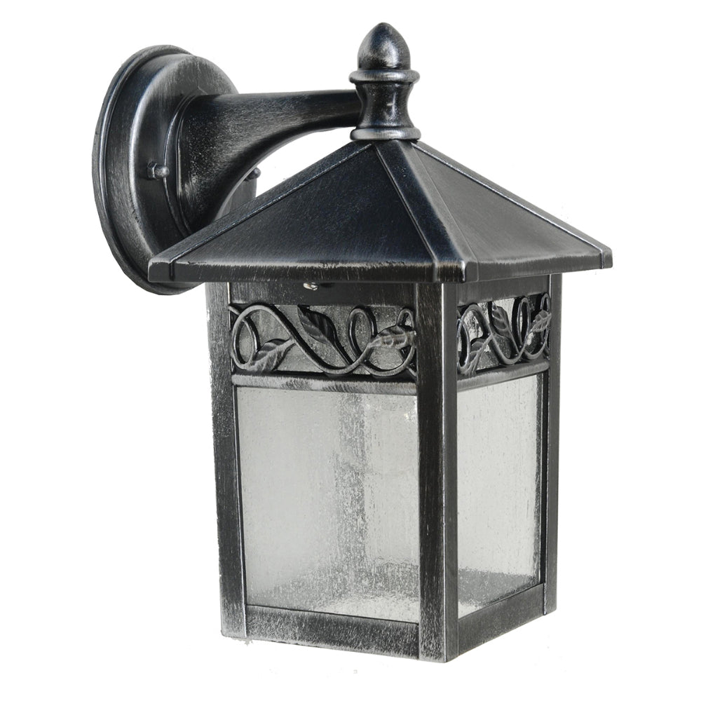 black and silver outdoor wall light
