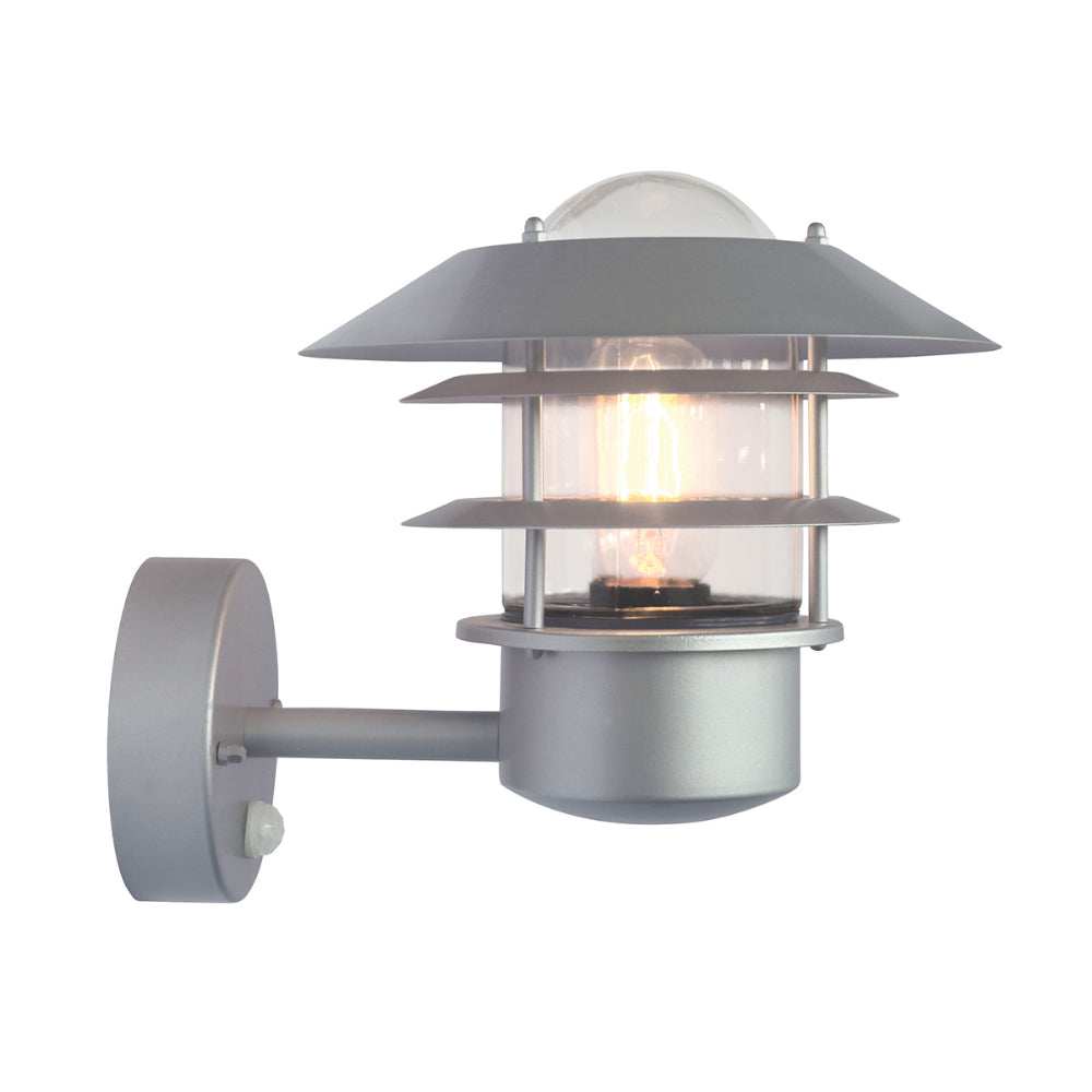 metallic silver outdoor wall light