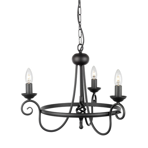 Elstead Lighting HR3/A BLK Harlech 3 Light Chandelier Black Finish