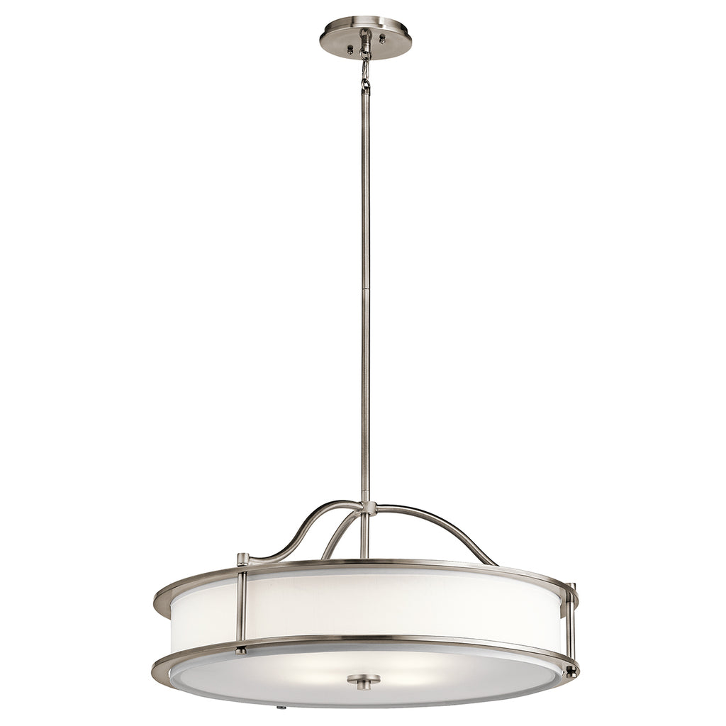 metal and white hanging ceiling light