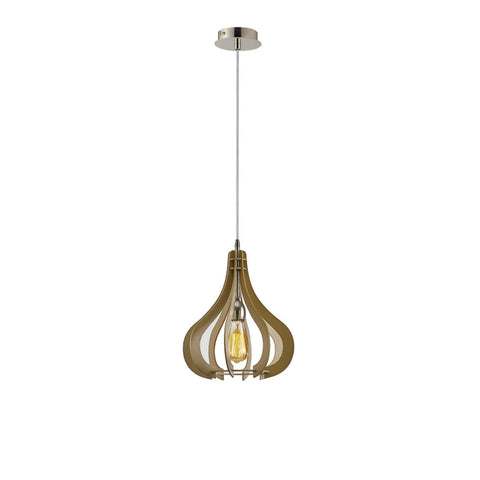 Diyas Lorna Single Light Polished Nickel/Beige Wood Pendant Ceiling Light