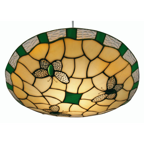 Oaks Lighting OT1000GR Green Butterfly Easy Fit Tiffany Pendant Shade
