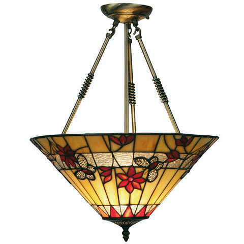 Oaks Lighting OT2612/17R Butterfly Single Light Tiffany Pendant Ceiling Light