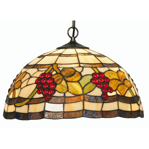 Oaks Lighting OT6018/16P Grapes Single Light Tiffany Pendant Ceiling Light