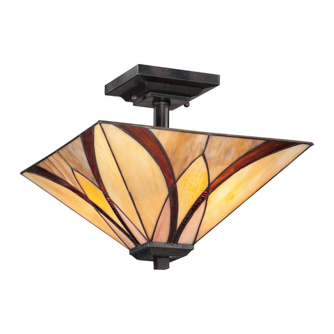 Asheville 2 Light Valiant Bronze Tiffany Semi-Flush Ceiling Light
