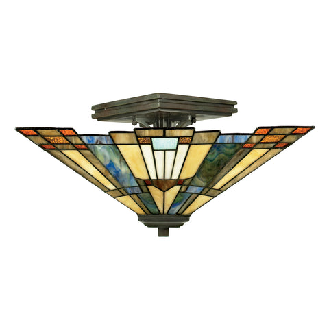Inglenook 2 Light Valiant Bronze Tiffany Semi-Flush Ceiling Light