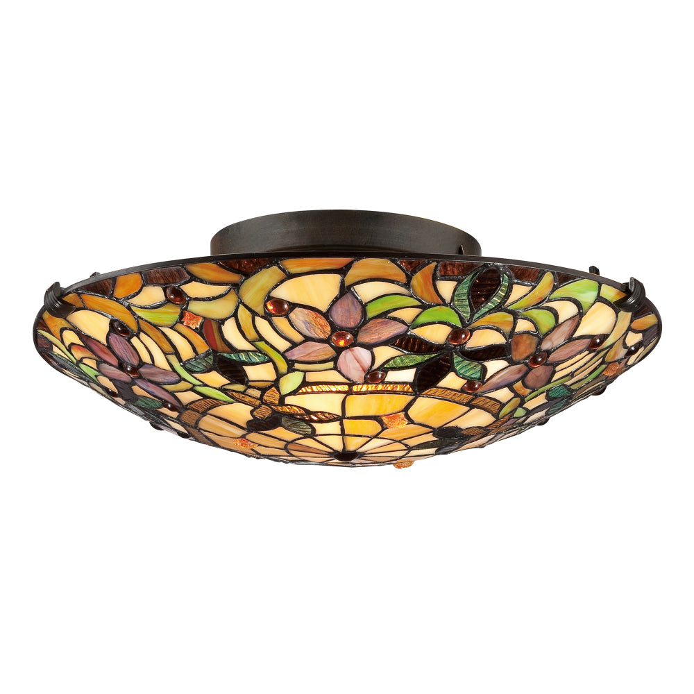 Elstead Lighting QZ/KAMI/P Kami 3 Light Vintage Bronze Tiffany Pendant Ceiling Light