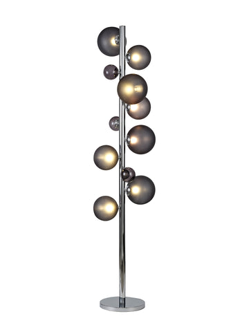 Regal Lighting SL-1996 8 Light Floor Lamp Polished Chrome With Smoked Glass