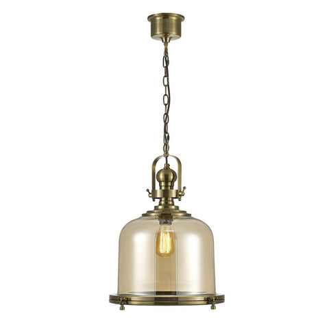 Large Bell 2 Light LED Chandelier, Antique Copper, Glass: Plated Smoked