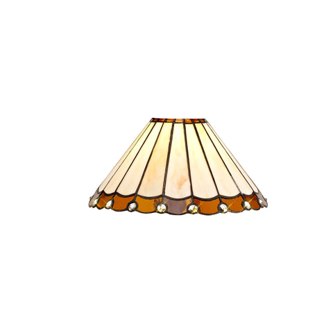 Regal Lighting SL-2054 Tiffany Easy Fit Uplighter Shade Cream And Amber With Clear Crystal 30cm