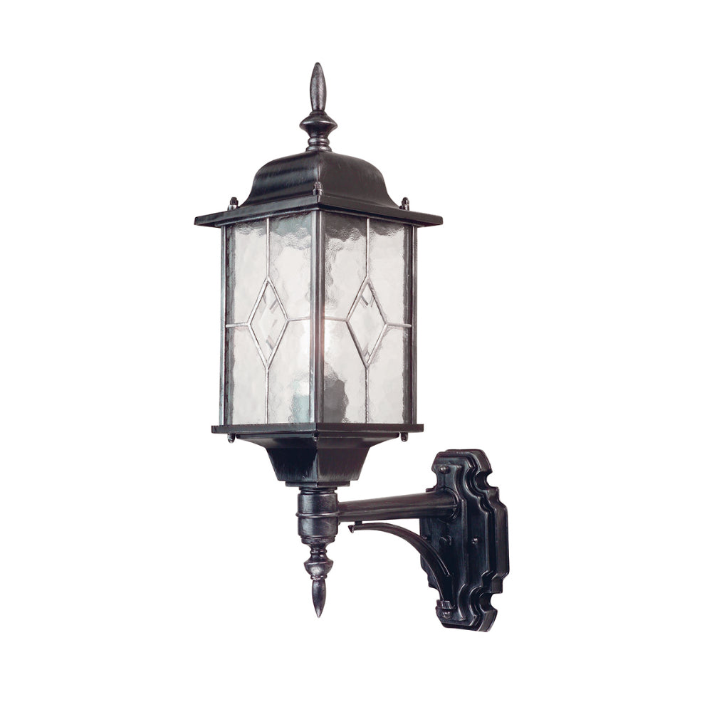 black/silver outdoor wall light