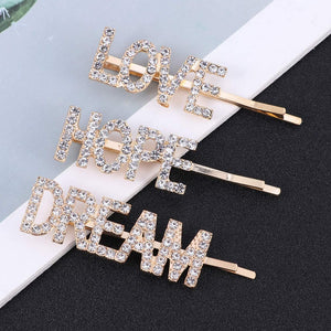 Love, Dream, Hope Rhinestone Hair Pin Set of 3