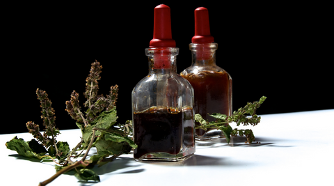 Patchouli oil and leaves
