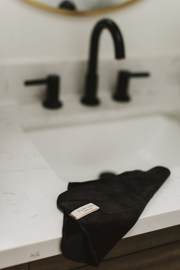 Black Velour Face Cloths, made with organic bamboo and organic cotton